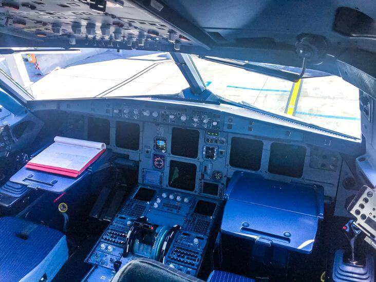 Airbus A320 cockpit with pilot tables