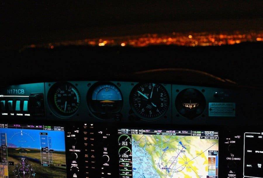 cockpit instruments aircraft during night
