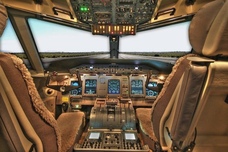 cockpit view on a runway without pilots