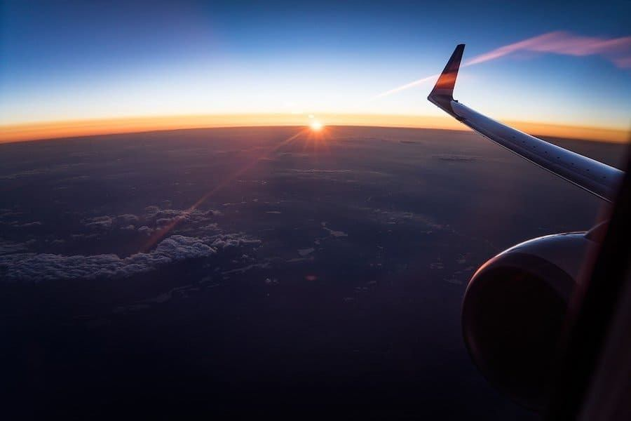 sunset cockpit wing